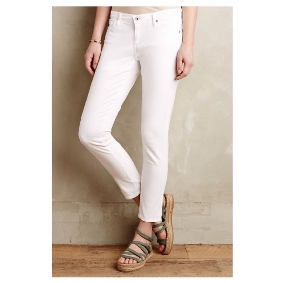 Ag Adriano Goldschmied Denim - AG The Stevie Ankle Slim Straight White Jeans 25